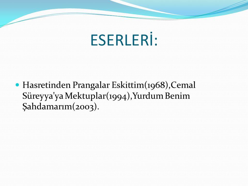 ESERLERİ: Hasretinden Prangalar Eskittim(1968),Cemal Süreyya'ya Mektuplar(1994),Yurdum Benim Şahdamarım(2003).