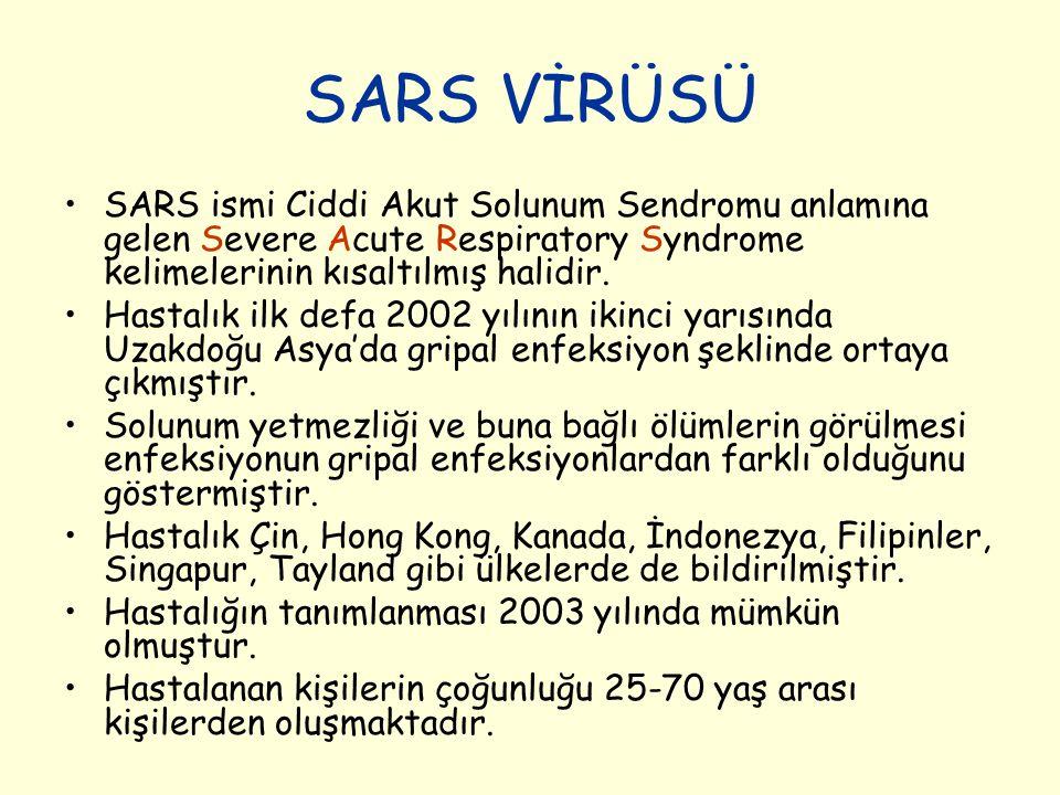 SARS VİRÜSÜ SARS ismi Ciddi Akut Solunum Sendromu anlamına gelen Severe Acute Respiratory Syndrome kelimelerinin kısaltılmış halidir. Hastalık ilk def