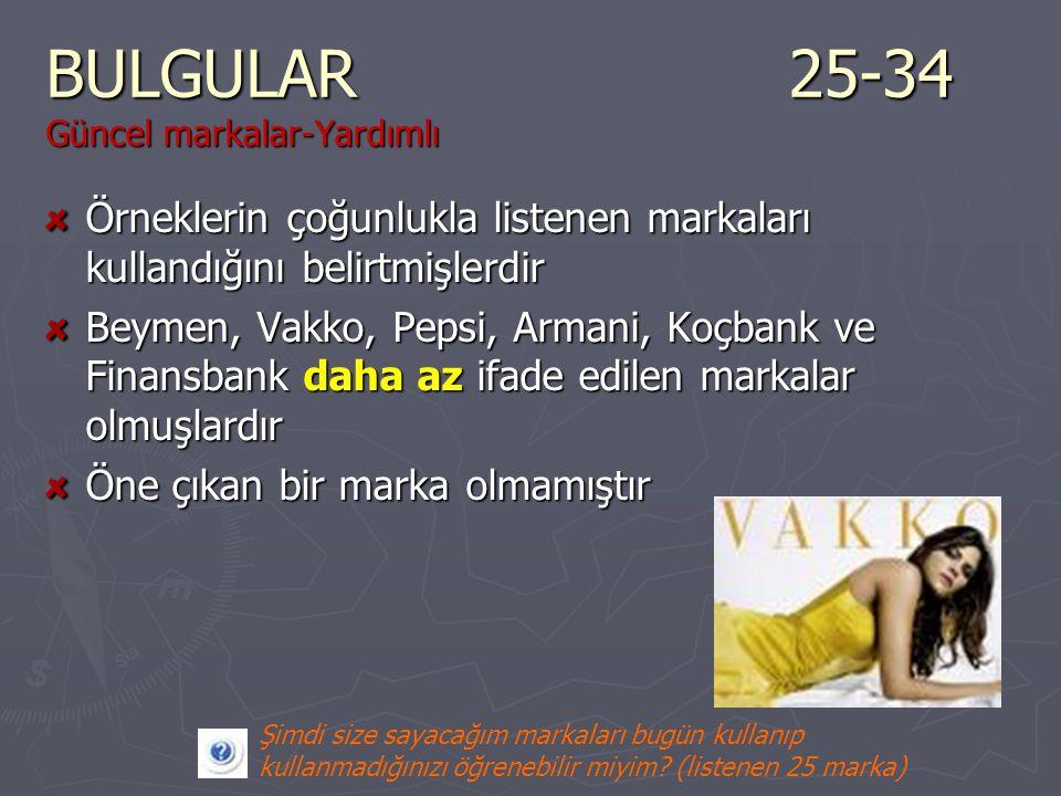 BULGULAR25-34 Güncel markalar-Yardımlı Örneklerin çoğunlukla listenen markaları kullandığını belirtmişlerdir Beymen, Vakko, Pepsi, Armani, Koçbank ve