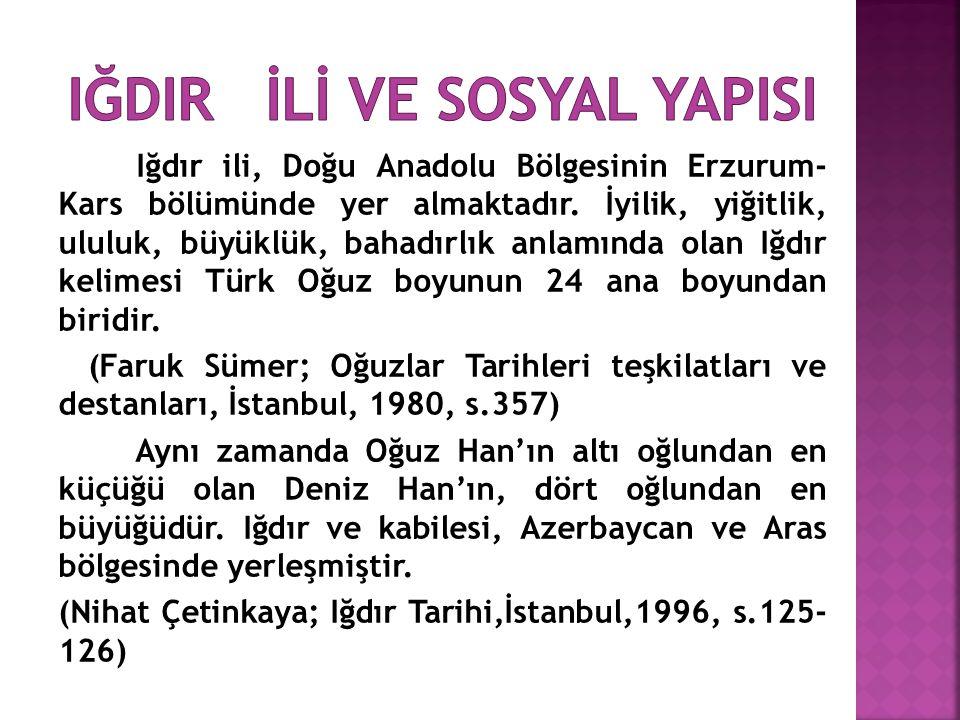 Iğdır ili, Doğu Anadolu Bölgesinin Erzurum- Kars bölümünde yer almaktadır. İyilik, yiğitlik, ululuk, büyüklük, bahadırlık anlamında olan Iğdır kelimes