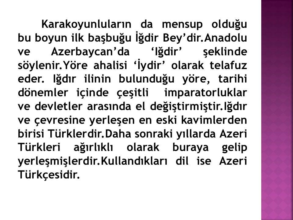 Karakoyunluların da mensup olduğu bu boyun ilk başbuğu İğdir Bey'dir.Anadolu ve Azerbaycan'da 'Iğdir' şeklinde söylenir.Yöre ahalisi 'İydir' olarak te