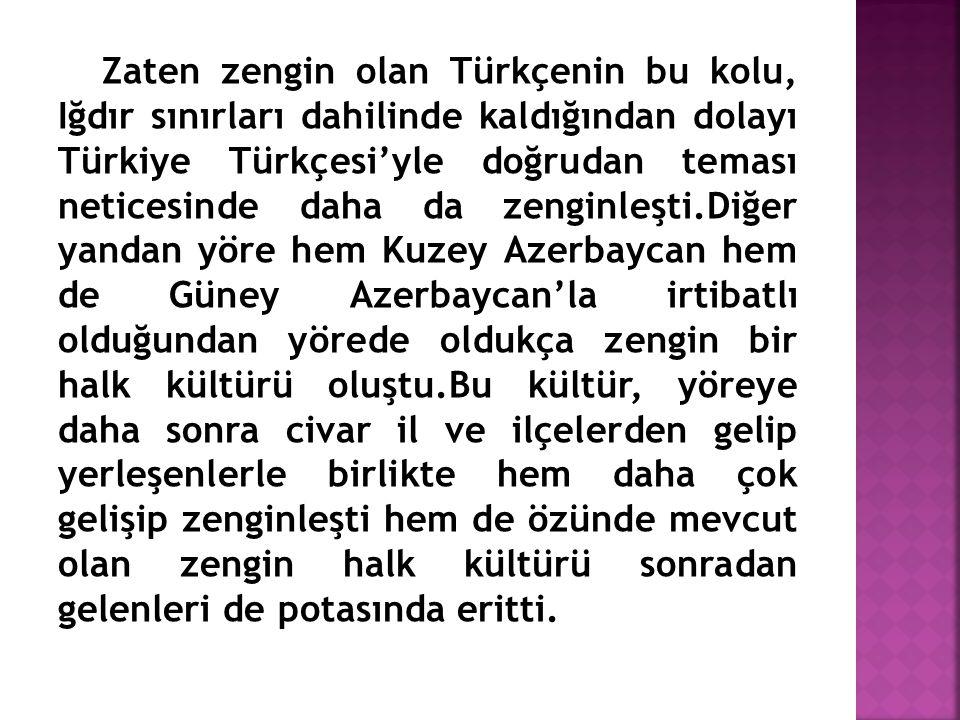 Zaten zengin olan Türkçenin bu kolu, Iğdır sınırları dahilinde kaldığından dolayı Türkiye Türkçesi'yle doğrudan teması neticesinde daha da zenginleşti