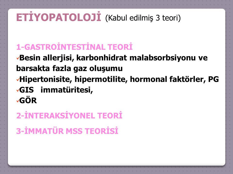 ETİYOPATOLOJİ (Kabul edilmiş 3 teori) 1-GASTROİNTESTİNAL TEORİ Besin allerjisi, karbonhidrat malabsorbsiyonu ve barsakta fazla gaz oluşumu Hipertonisite, hipermotilite, hormonal faktörler, PG GIS immatüritesi, GÖR 2-İNTERAKSİYONEL TEORİ 3-İMMATÜR MSS TEORİSİ