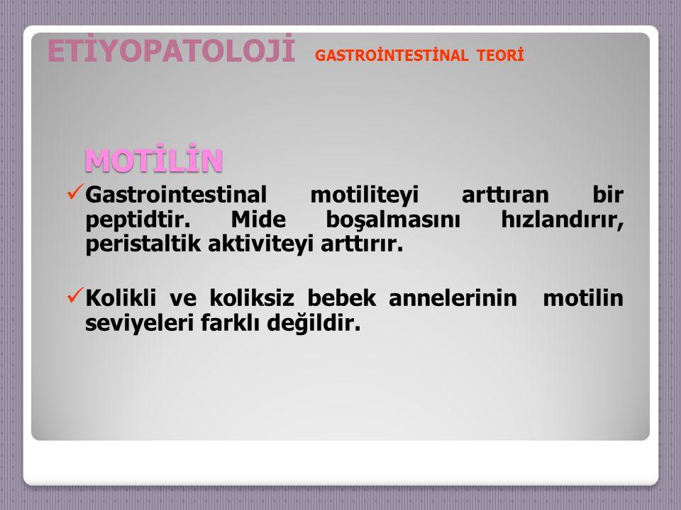 MOTİLİN Gastrointestinal motiliteyi arttıran bir peptidtir.