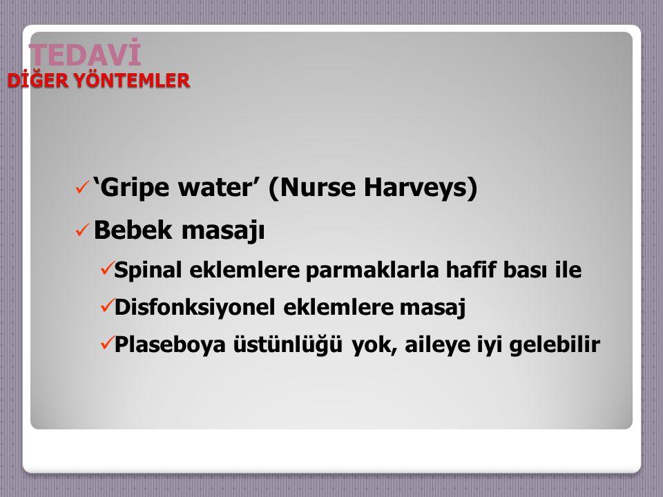 DİĞER YÖNTEMLER 'Gripe water' (Nurse Harveys) Bebek masajı Spinal eklemlere parmaklarla hafif bası ile Disfonksiyonel eklemlere masaj Plaseboya üstünlüğü yok, aileye iyi gelebilir TEDAVİ