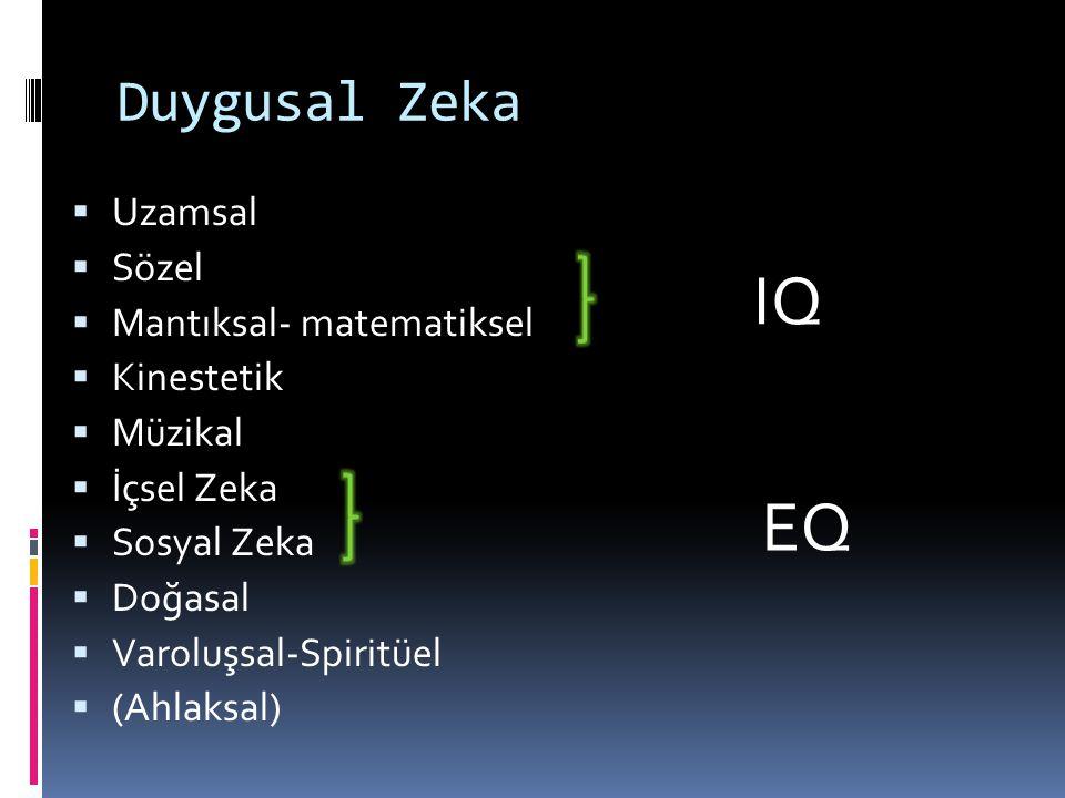 Duygusal Zeka  Uzamsal  Sözel  Mantıksal- matematiksel  Kinestetik  Müzikal  İçsel Zeka  Sosyal Zeka  Doğasal  Varoluşsal-Spiritüel  (Ahlaksal) IQ EQ