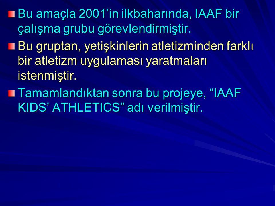 Bu amaçla 2001'in ilkbaharında, IAAF bir çalışma grubu görevlendirmiştir. Bu gruptan, yetişkinlerin atletizminden farklı bir atletizm uygulaması yarat