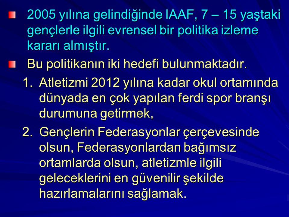 2005 yılına gelindiğinde IAAF, 7 – 15 yaştaki gençlerle ilgili evrensel bir politika izleme kararı almıştır. Bu politikanın iki hedefi bulunmaktadır.