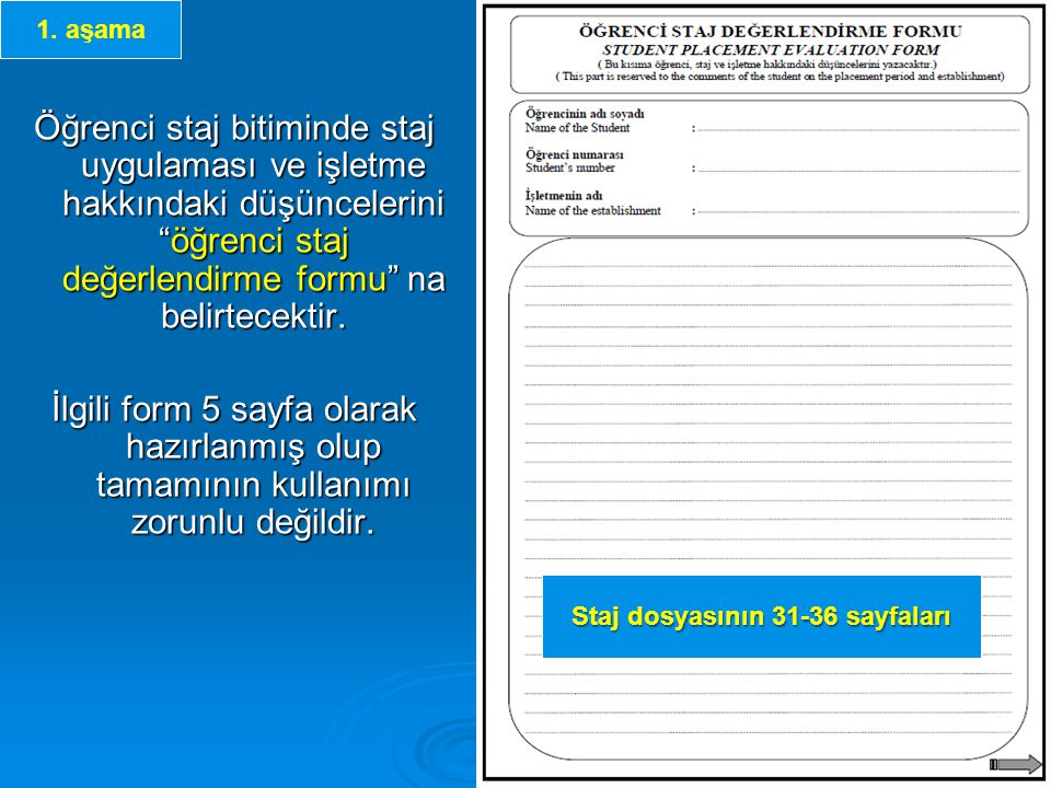 Staj dosyasının teslimi Aşağıda belirtilen Staj yönergesinin ilgili maddesi uyarınca Bölümünüzce istenen bir Staj dosyası var ise; Staj dosyası öğrenci tarafından stajın bitimini takip eden yarıyılın ilk iki haftası içerisinde komisyona teslim edilmelidir.