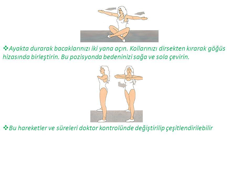  Ayakta durarak bacaklarınızı iki yana açın. Kollarınızı dirsekten kırarak göğüs hizasında birleştirin. Bu pozisyonda bedeninizi sağa ve sola çevirin