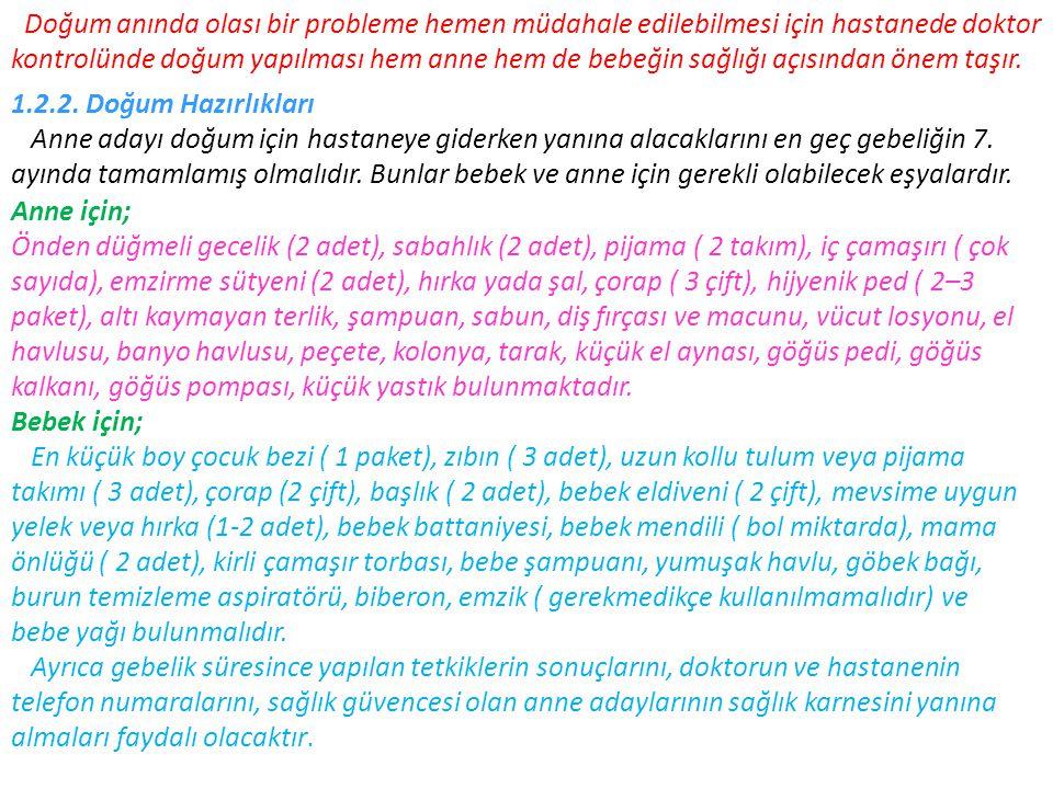  Dünya Sağlık Örgütü, Anne Sütü İle Beslenmede Danışmanlık, Cenevre, 1994  ELEVLİ Murat, Anne ve Çocuk Sağlığı, Elit Yayınları, İstanbul, 2002  ENGLAND Marjoie, Life Before Birth, Mosby-Wolfe, 1996  ESERDAĞ Süleyman, Doğum, http://www.eserdag.com/dogumun_baslamasi.htmAlınma Tarihi 21.04.2006  ESERDAĞ Süleyman, Emzirme, http://www.eserdag.com/anne_sutu_emzirme.htm Alınma Tarihi 21.04.2006  FENWİCK Elizabeth, Gebelik, Morpa Yayınları, 2005  HERGÜNER Özlem, Gelişimsel Refleksler, http://lokman.cu.edu.tr/pediatri/apo/1propedotik/14.htm Alınma Tarihi 30.04.2006  KARAATA Filiz, Hamileliğin Riskli Dönemi, Son Üç Ay Doğumun Geç Olma Riski, Anne Bebek Dergisi, İstanbul, Haziran 2005, Sayı 54  KARABAŞ Zuhal, İçimde Neler Oluyor-3, Bebeğim ve Biz Dergisi, İstanbul, Eylül 2003, Sayı 90  KARABÖCÜOĞLU H., Göbek Bakımı, http://www.bebekveanne.com/gobek_bakimi.html Alınma Tarihi 04.05.2006  KOCATEPE Kağan, Apgar Skoru, http://gebelik.org/dosyalar/normaldogum/apgar.html Alınma Tarihi  DREWS Ulrich, Color Atlas Of Embryology, Thieme Medical, New York,199504.05.2006