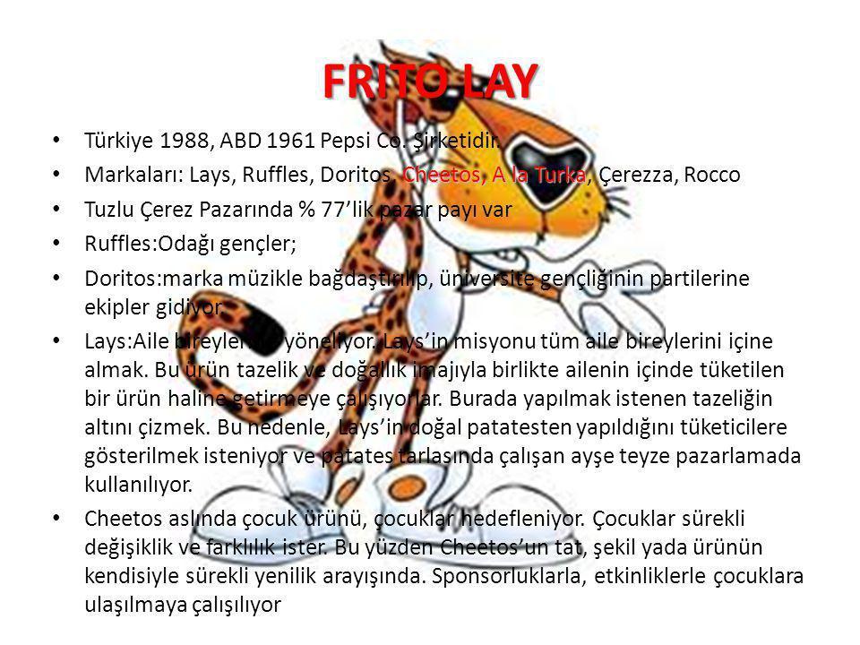 FRITO LAY Türkiye 1988, ABD 1961 Pepsi Co. Şirketidir. Cheetos, A la Turka Markaları: Lays, Ruffles, Doritos, Cheetos, A la Turka, Çerezza, Rocco Tuzl