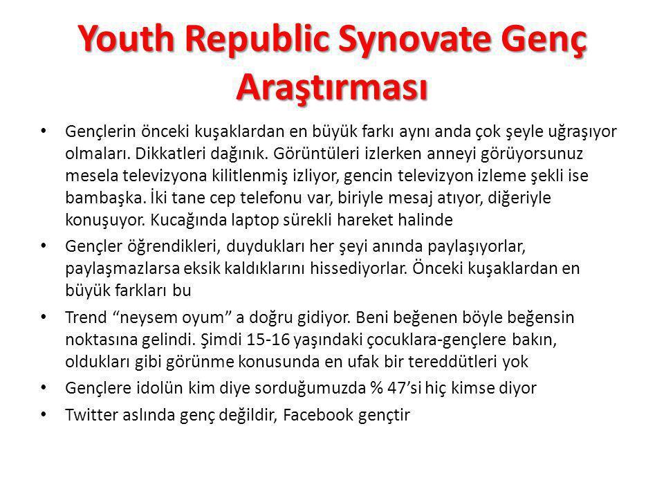 Youth Republic Synovate Genç Araştırması Gençlerin önceki kuşaklardan en büyük farkı aynı anda çok şeyle uğraşıyor olmaları. Dikkatleri dağınık. Görün