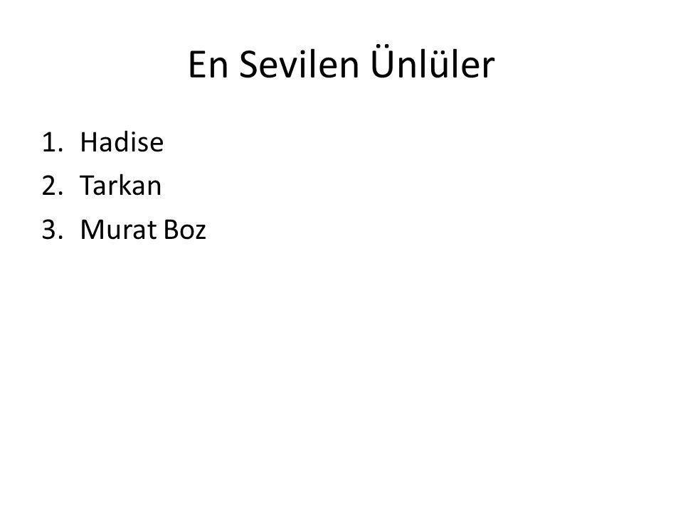En Sevilen Ünlüler 1.Hadise 2.Tarkan 3.Murat Boz