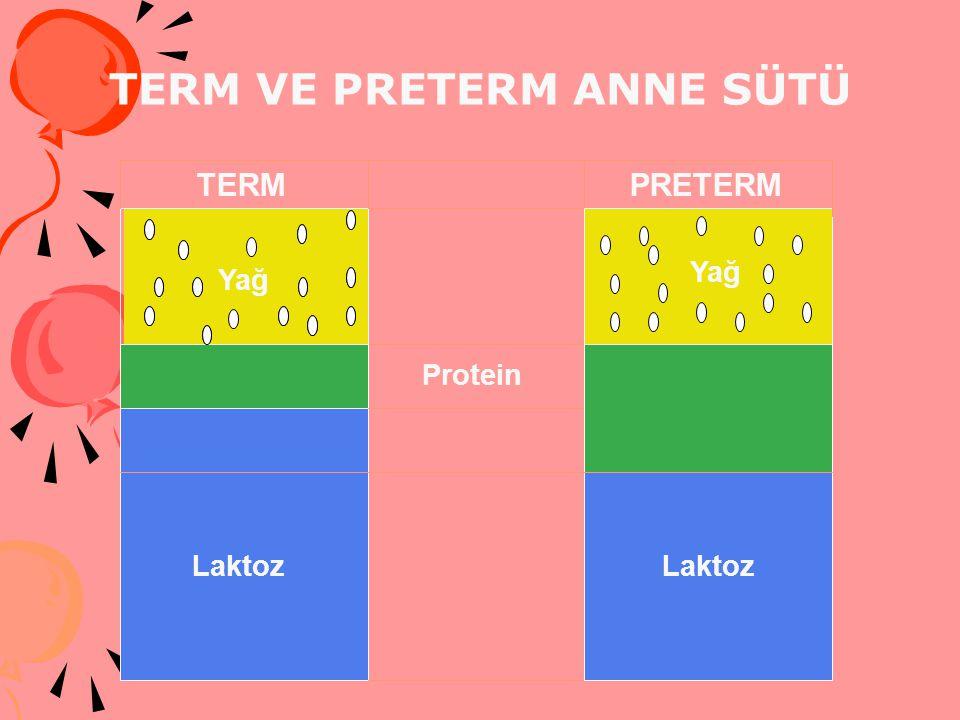 Laktoz Laktoz TERM VE PRETERM ANNE SÜTÜ TERMPRETERM Protein Yağ