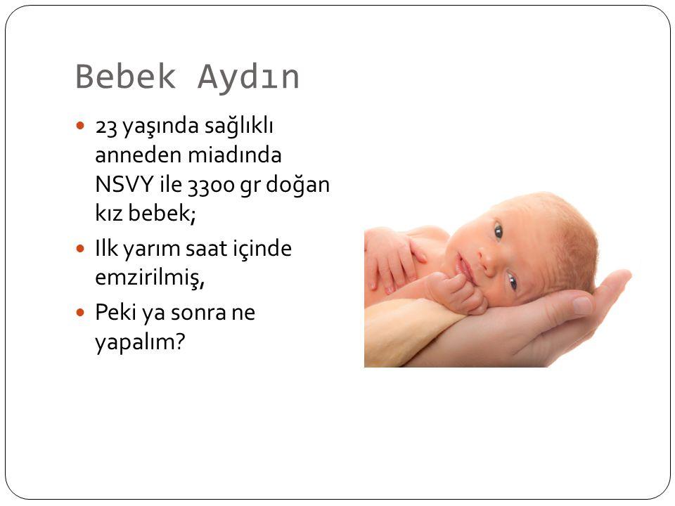 Bebek Aydın 23 yaşında sağlıklı anneden miadında NSVY ile 3300 gr doğan kız bebek; Ilk yarım saat içinde emzirilmiş, Peki ya sonra ne yapalım?