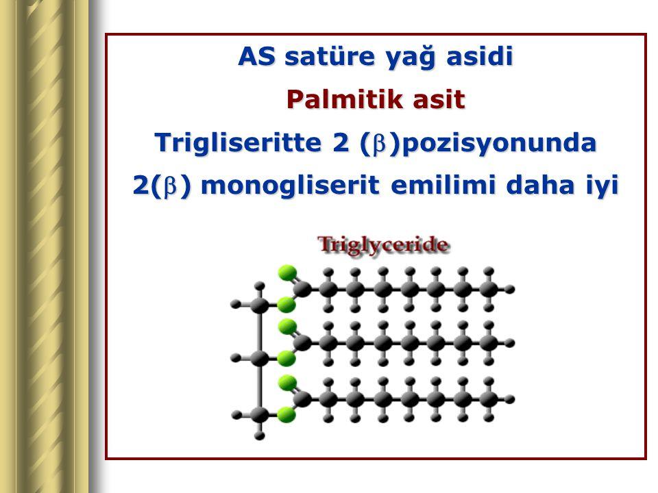 AS satüre yağ asidi Palmitik asit Trigliseritte 2 ()pozisyonunda 2() monogliserit emilimi daha iyi