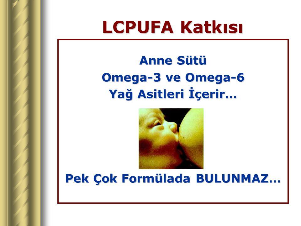 LCPUFA Katkısı Anne Sütü Omega-3 ve Omega-6 Yağ Asitleri İçerir… Pek Çok Formülada BULUNMAZ…