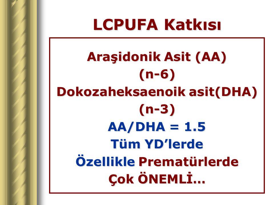 LCPUFA Katkısı Araşidonik Asit (AA) (n-6) Dokozaheksaenoik asit(DHA) (n-3) AA/DHA = 1.5 Tüm YD'lerde Özellikle Prematürlerde Çok ÖNEMLİ…