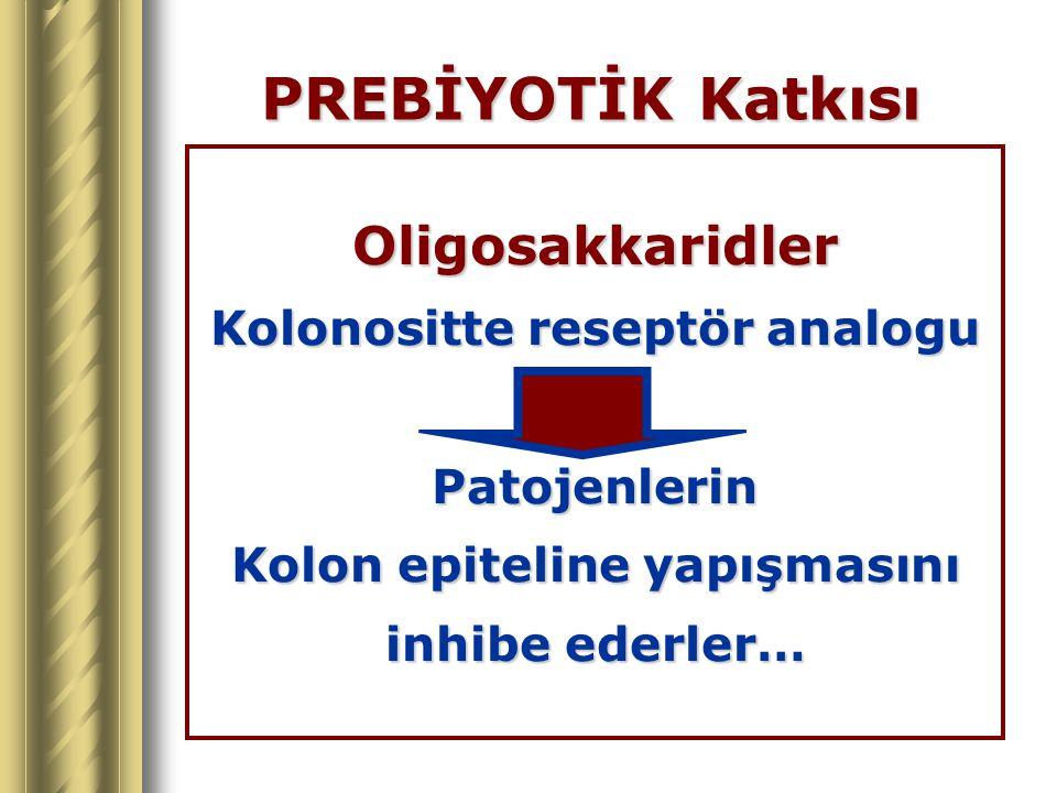 PREBİYOTİK Katkısı Oligosakkaridler Kolonositte reseptör analogu Patojenlerin Kolon epiteline yapışmasını inhibe ederler…