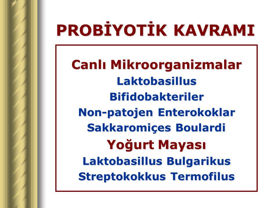 PROBİYOTİK KAVRAMI Canlı Mikroorganizmalar LaktobasillusBifidobakteriler Non-patojen Enterokoklar Sakkaromiçes Boulardi Yoğurt Mayası Laktobasillus Bu