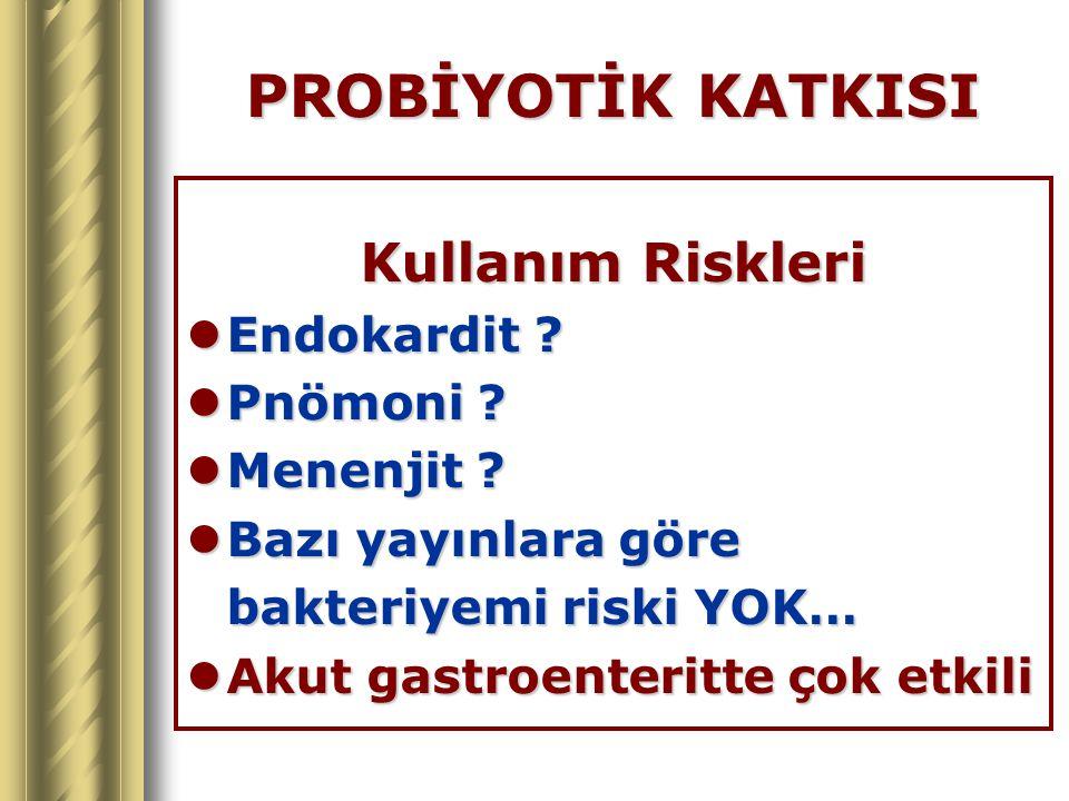 PROBİYOTİK KATKISI Kullanım Riskleri Endokardit ? Endokardit ? Pnömoni ? Pnömoni ? Menenjit ? Menenjit ? Bazı yayınlara göre Bazı yayınlara göre bakte