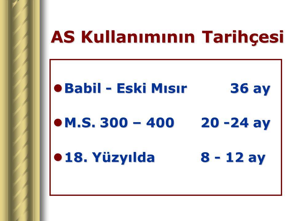 AS Kullanımının Tarihçesi Babil - Eski Mısır36 ay Babil - Eski Mısır36 ay M.S. 300 – 40020 -24 ay M.S. 300 – 40020 -24 ay 18. Yüzyılda8 - 12 ay 18. Yü
