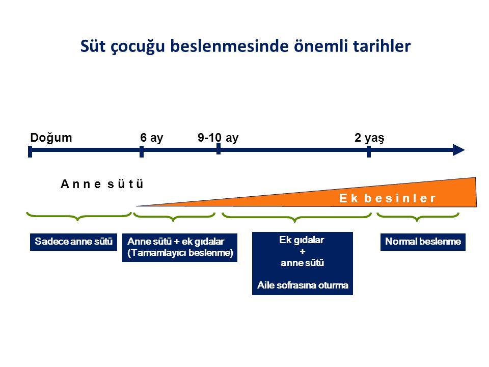 Süt çocuğu beslenmesinde önemli tarihler E k b e s i n l e r Doğum 6 ay 9-10 ay 2 yaş Sadece anne sütüAnne sütü + ek gıdalar (Tamamlayıcı beslenme) Ek