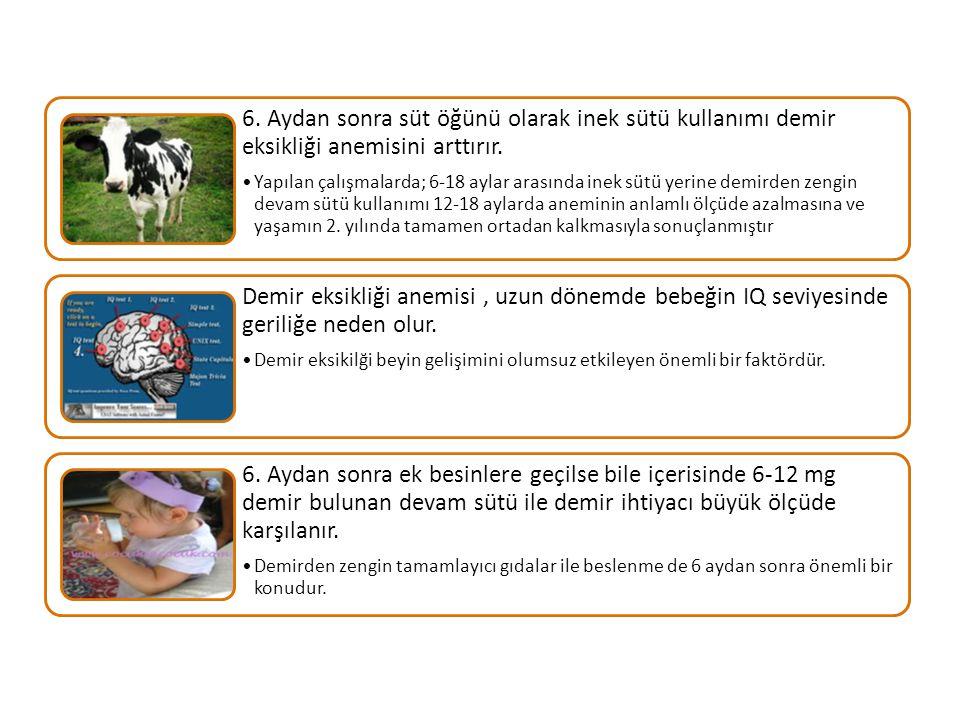 6. Aydan sonra süt öğünü olarak inek sütü kullanımı demir eksikliği anemisini arttırır. Yapılan çalışmalarda; 6-18 aylar arasında inek sütü yerine dem