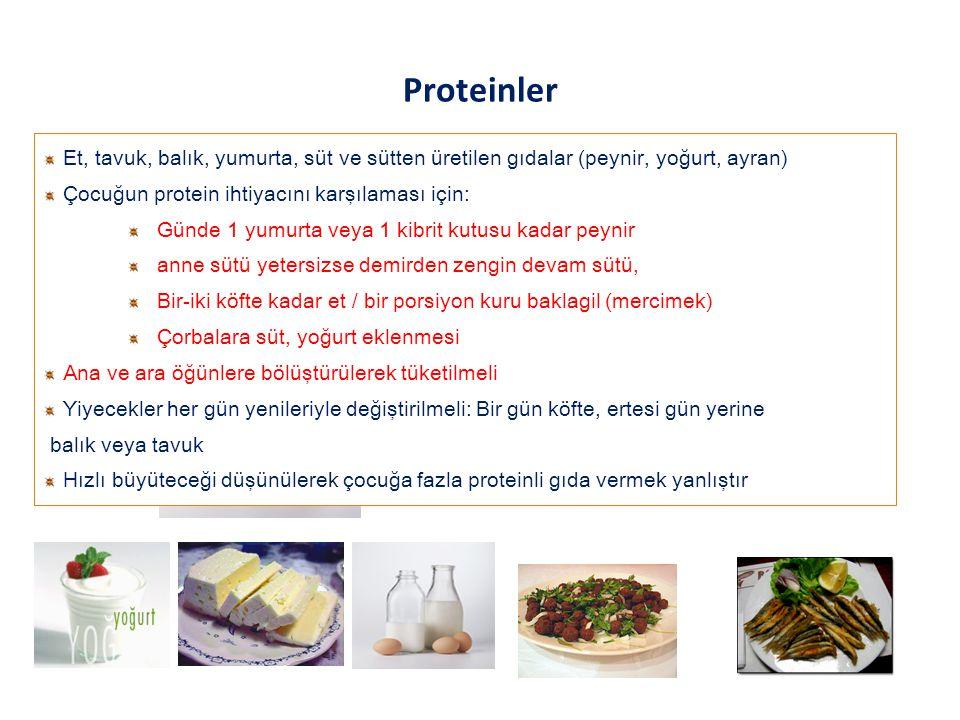 Proteinler Et, tavuk, balık, yumurta, süt ve sütten üretilen gıdalar (peynir, yoğurt, ayran) Çocuğun protein ihtiyacını karşılaması için: Günde 1 yumu