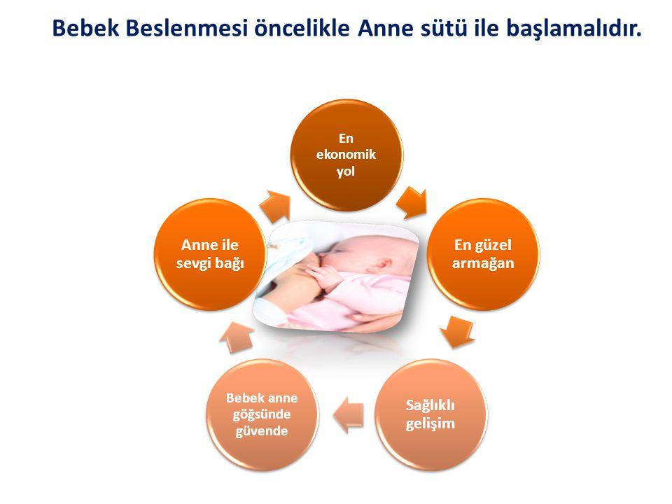 Bebek Beslenmesi öncelikle Anne sütü ile başlamalıdır. En ekonomik yol En güzel armağan Sağlıklı gelişim Bebek anne göğsünde güvende Anne ile sevgi ba