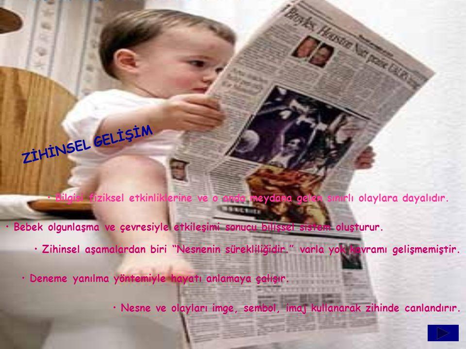 ZİHİNSEL GELİŞİM Bilgisi fiziksel etkinliklerine ve o anda meydana gelen sınırlı olaylara dayalıdır. Bebek olgunlaşma ve çevresiyle etkileşimi sonucu