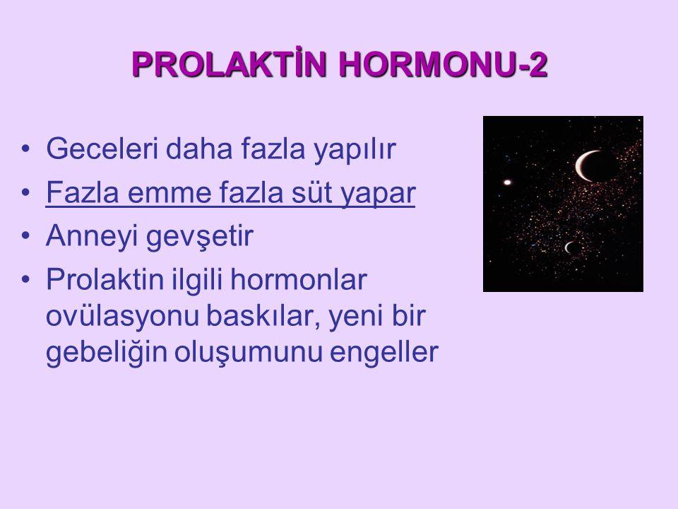 PROLAKTİN HORMONU-2 Geceleri daha fazla yapılır Fazla emme fazla süt yapar Anneyi gevşetir Prolaktin ilgili hormonlar ovülasyonu baskılar, yeni bir ge