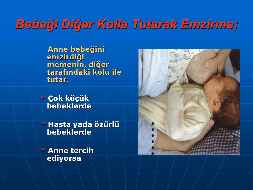Bebeği Diğer Kolla Tutarak Emzirme; Anne bebeğini emzirdiği memenin, diğer tarafındaki kolu ile tutar. Anne bebeğini emzirdiği memenin, diğer tarafınd