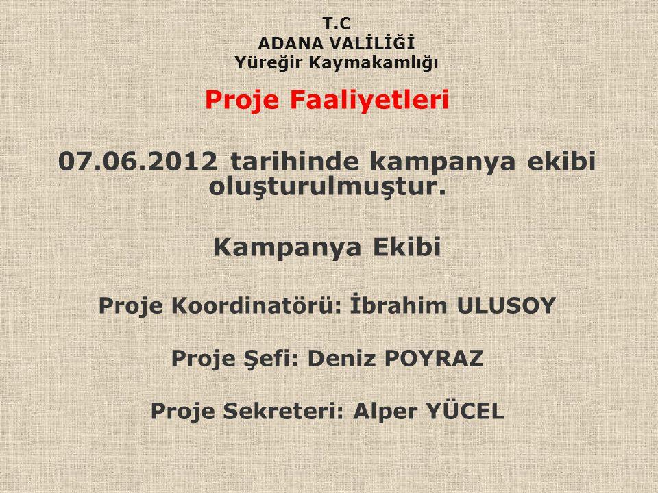 Proje Faaliyetleri 07.06.2012 tarihinde kampanya ekibi oluşturulmuştur. Kampanya Ekibi Proje Koordinatörü: İbrahim ULUSOY Proje Şefi: Deniz POYRAZ Pro