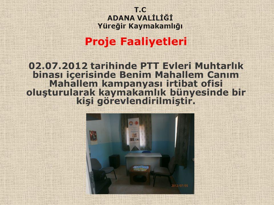 Proje Faaliyetleri 02.07.2012 tarihinde PTT Evleri Muhtarlık binası içerisinde Benim Mahallem Canım Mahallem kampanyası irtibat ofisi oluşturularak ka