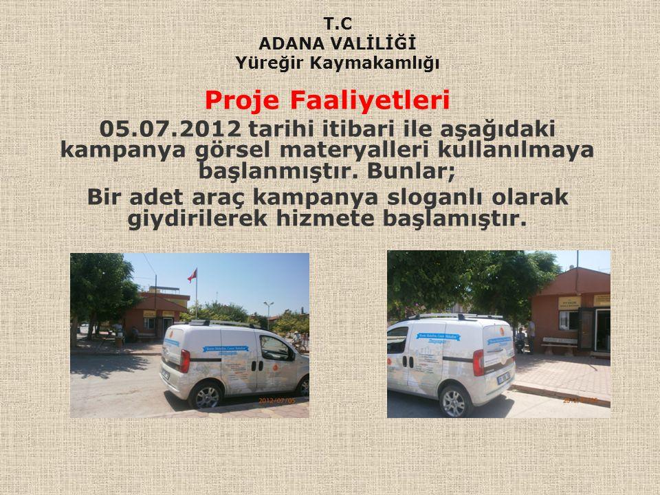 Proje Faaliyetleri 05.07.2012 tarihi itibari ile aşağıdaki kampanya görsel materyalleri kullanılmaya başlanmıştır. Bunlar; Bir adet araç kampanya slog