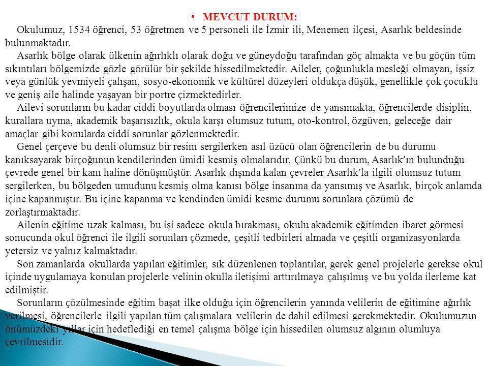 MEVCUT DURUM: Okulumuz, 1534 ö ğrenci, 53 ö ğretmen ve 5 personeli ile İzmir ili, Menemen il ç esi, Asarlık beldesinde bulunmaktadır. Asarlık b ö lge