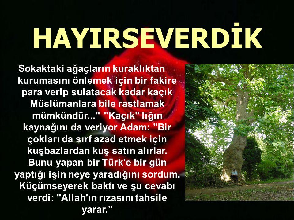 Bu tespiti, İslâm ve Türk düşmanı avukat Guer misallendiriyor: Türk şefkati hayvanlara bile şamildir dedikten sonra şu örneği veriyor: Hayvanları beslemek için vakıflar ve ücretli adamları vardır.