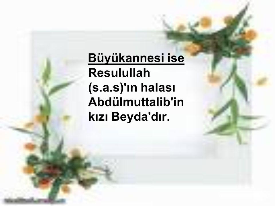 Büyükannesi ise Resulullah (s.a.s)'ın halası Abdülmuttalib'in kızı Beyda'dır.