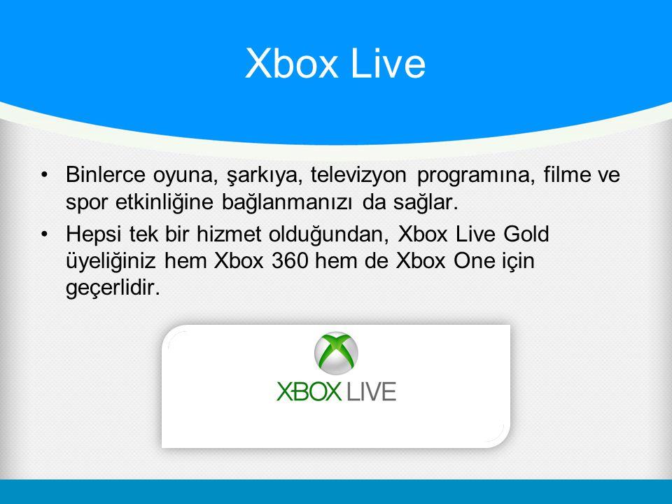 Xbox Live Binlerce oyuna, şarkıya, televizyon programına, filme ve spor etkinliğine bağlanmanızı da sağlar. Hepsi tek bir hizmet olduğundan, Xbox Live