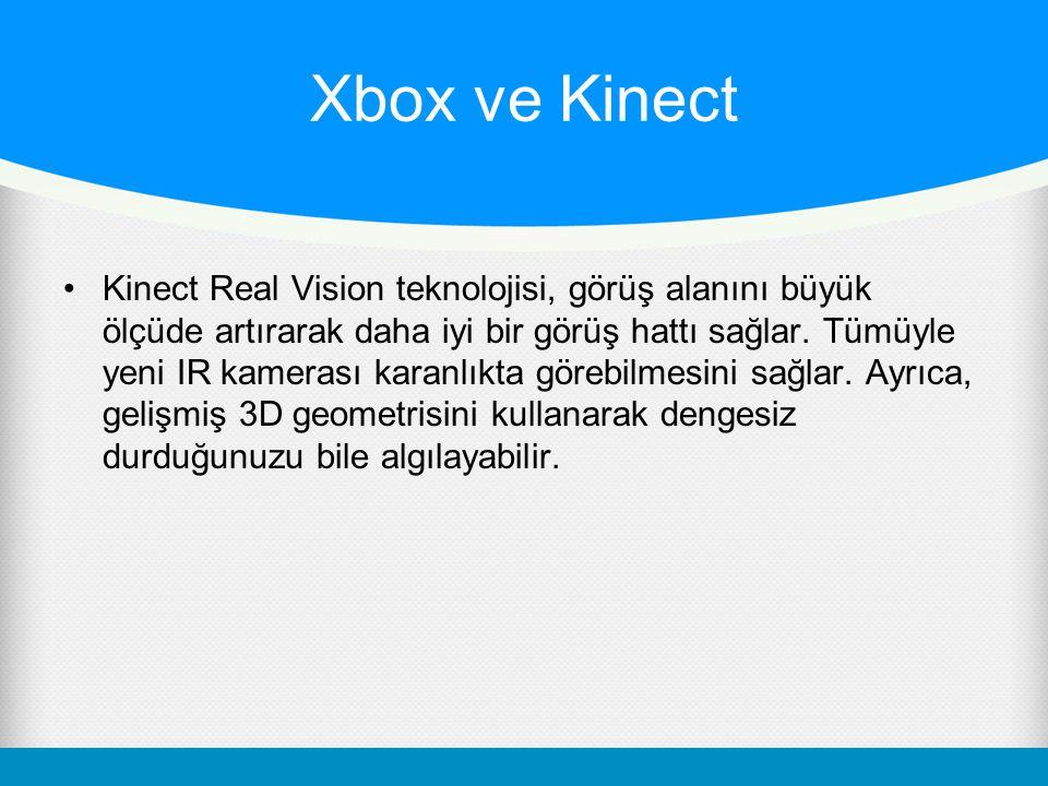 Xbox ve Kinect Kinect Real Vision teknolojisi, görüş alanını büyük ölçüde artırarak daha iyi bir görüş hattı sağlar. Tümüyle yeni IR kamerası karanlık