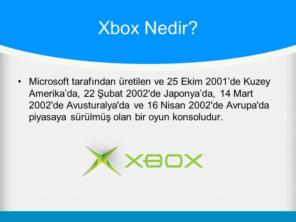 Xbox Nedir? Microsoft tarafından üretilen ve 25 Ekim 2001'de Kuzey Amerika'da, 22 Şubat 2002'de Japonya'da, 14 Mart 2002'de Avusturalya'da ve 16 Nisan