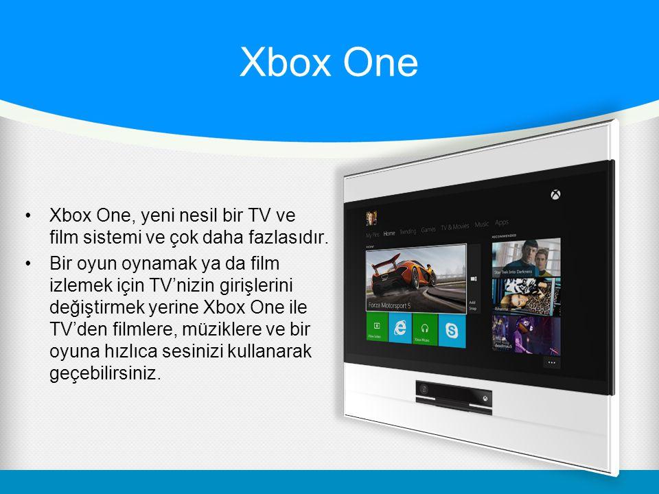 Xbox One Xbox One, yeni nesil bir TV ve film sistemi ve çok daha fazlasıdır. Bir oyun oynamak ya da film izlemek için TV'nizin girişlerini değiştirmek