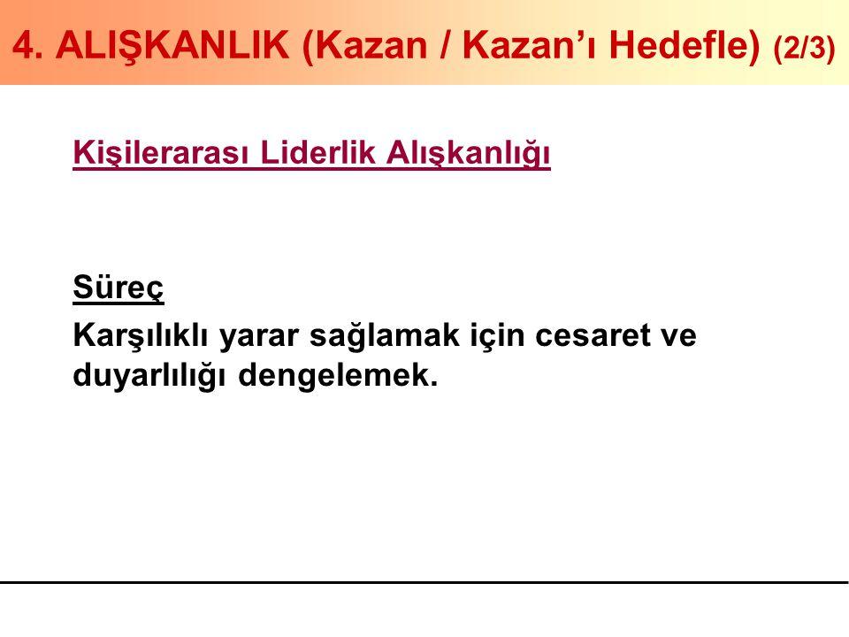4. ALIŞKANLIK (Kazan / Kazan'ı Hedefle) (2/3) Kişilerarası Liderlik Alışkanlığı Süreç Karşılıklı yarar sağlamak için cesaret ve duyarlılığı dengelemek
