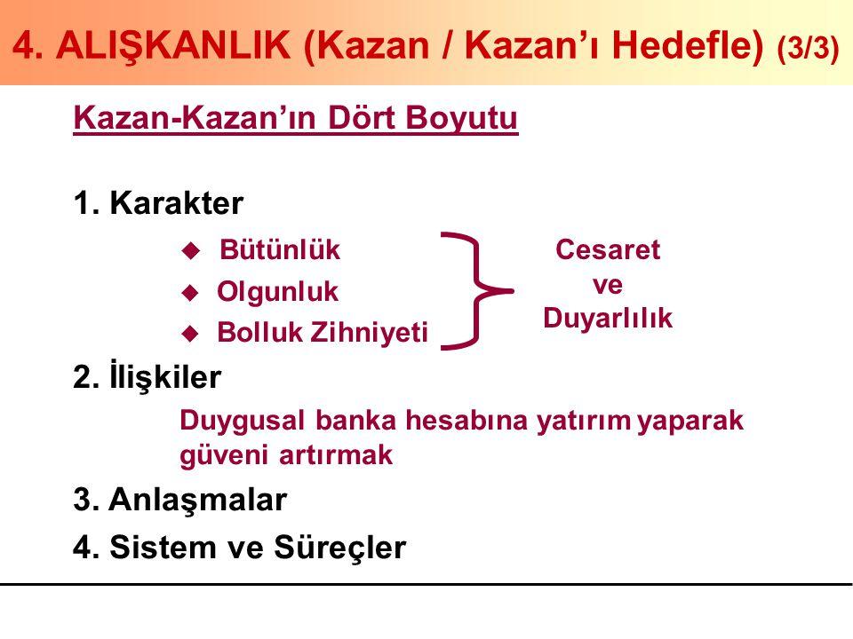 4. ALIŞKANLIK (Kazan / Kazan'ı Hedefle) (3/3) Kazan-Kazan'ın Dört Boyutu 1. Karakter u Bütünlük u Olgunluk u Bolluk Zihniyeti 2. İlişkiler Duygusal ba