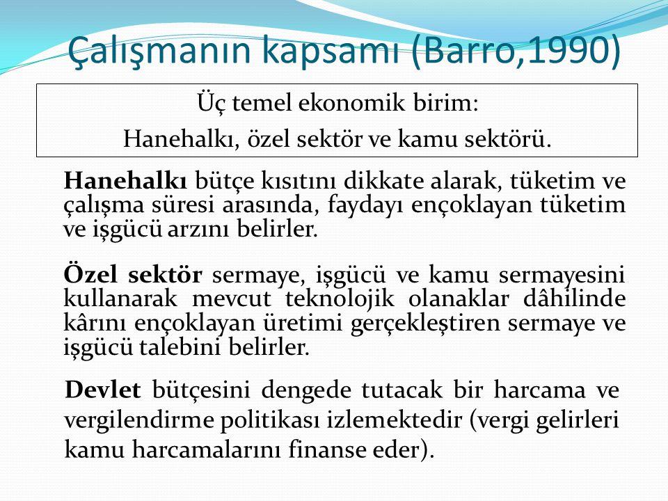 Çalışmanın kapsamı (Barro,1990) Üç temel ekonomik birim: Hanehalkı, özel sektör ve kamu sektörü. Hanehalkı bütçe kısıtını dikkate alarak, tüketim ve ç
