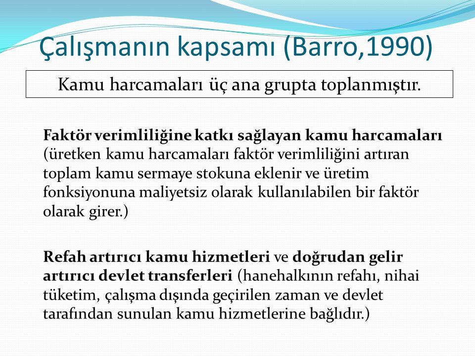 Çalışmanın kapsamı (Barro,1990) Faktör verimliliğine katkı sağlayan kamu harcamaları (üretken kamu harcamaları faktör verimliliğini artıran toplam kam