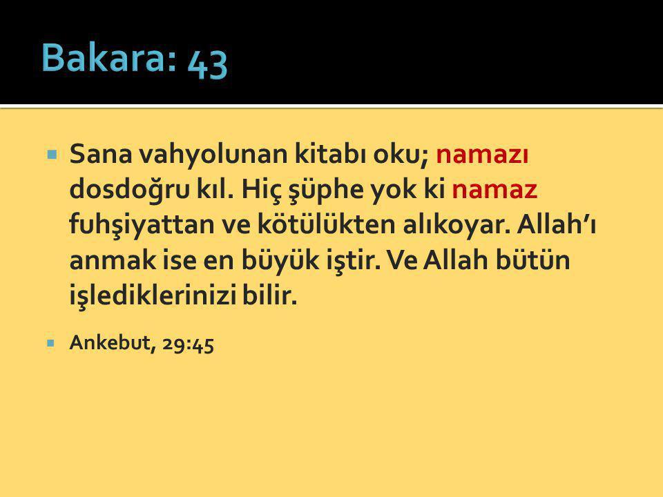  Sana vahyolunan kitabı oku; namazı dosdoğru kıl. Hiç şüphe yok ki namaz fuhşiyattan ve kötülükten alıkoyar. Allah'ı anmak ise en büyük iştir. Ve All