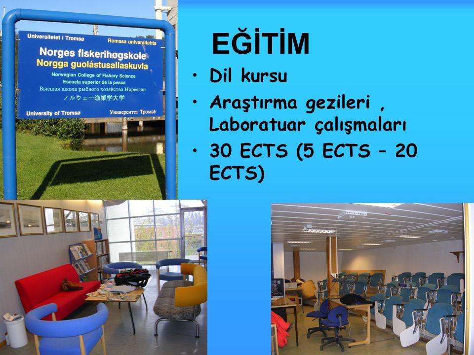 EĞİTİM Dil kursu Araştırma gezileri, Laboratuar çalışmaları 30 ECTS (5 ECTS – 20 ECTS)